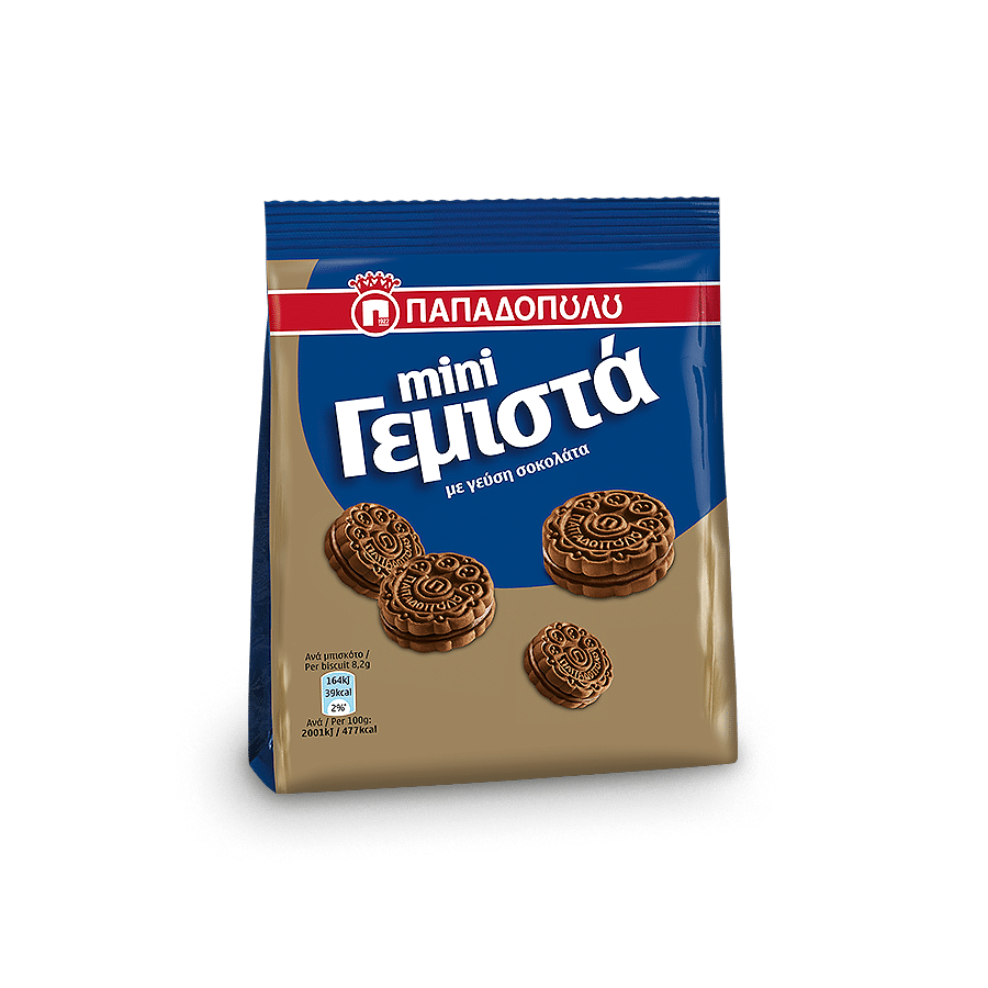 Image of Mini sandwich biscuits with chocolate flavored cream