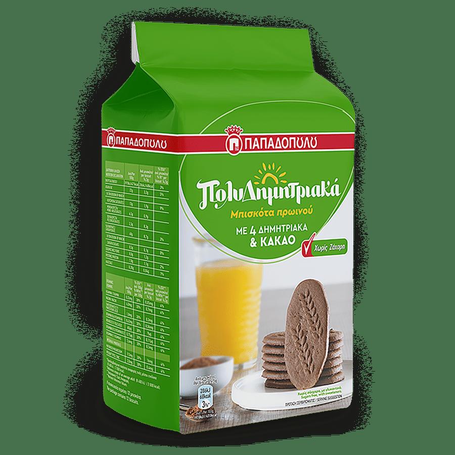 Product Image of ΠολυΔημητριακά Μπισκότα Πρωινού με 4 δημητριακά & κακάο, χωρίς ζάχαρη