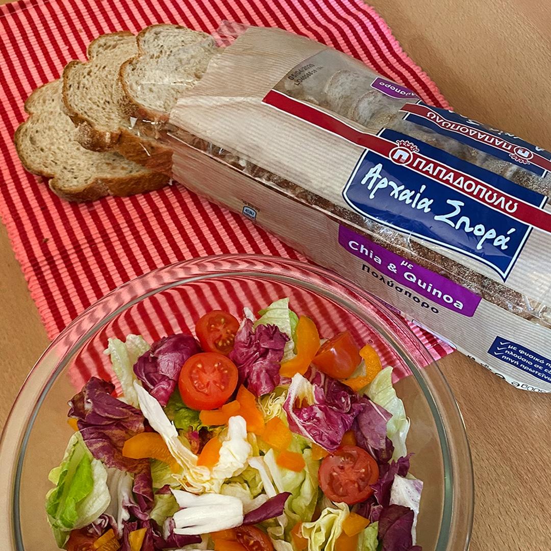 Image for Σαλάτα εποχής και ψωμί σε φέτες Αρχαία Σπορά με Chia & Quinoa!