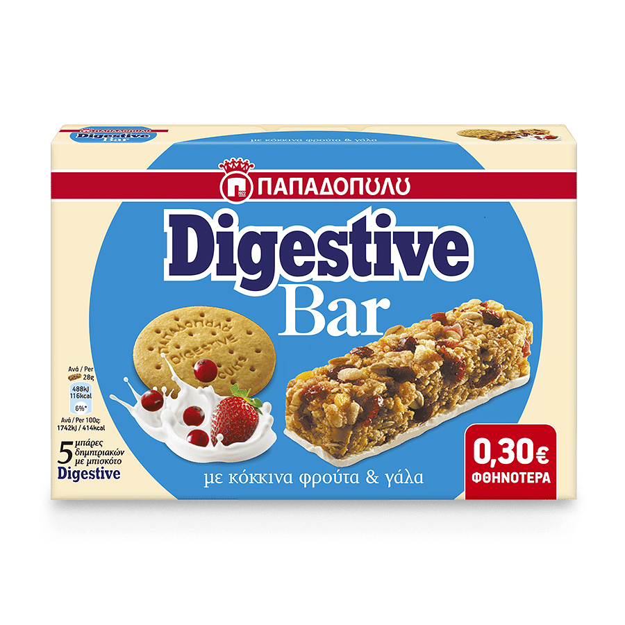 Image of Digestive Bar with red fruits and milk coated base