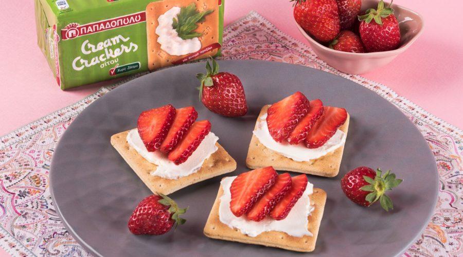 Top slider image for Εύκολο και ελαφρύ βραδινό με Cream Crackers Χωρίς Ζάχαρη και φράουλες
