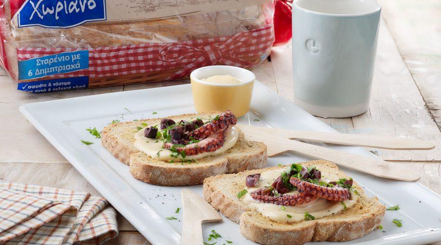 Top slider image for Μπρουσκέτες με Ψωμί Χωριανό Παπαδοπούλου με μους ταραμά & χταπόδι