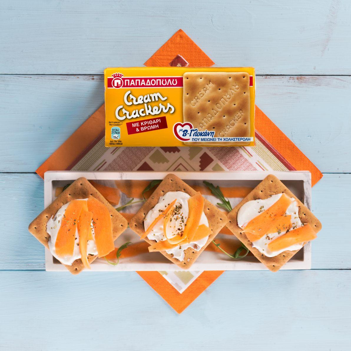 Featured image for Υγιεινό γεύμα με Cream Crackers με κριθάρι, βρώμη & Β'–γλυκάνη, κατίκι και καρότο
