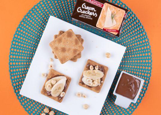 image for Πρωινό με Cream Crackers με Σίκαλη Ολικής, πραλίνα, μπανάνα και φουντούκια