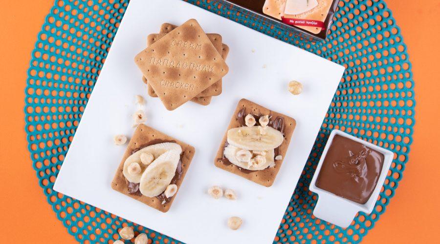 Top slider image for Πρωινό με Cream Crackers με Σίκαλη Ολικής, πραλίνα, μπανάνα και φουντούκια