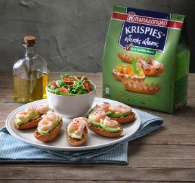 Recipe for KRISPIES Παπαδοπούλου ολικής άλεσης με αβοκάντο και γαρίδες
