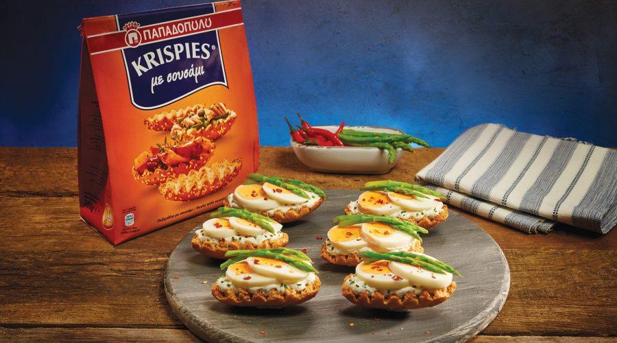 Top slider image for Αυγά με σάλτσα γιαούρτι-σχοινόπρασο σε KRISPIES Παπαδοπούλου με σουσάμι