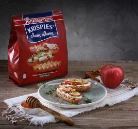 image for KRISPIES ολικής άλεσης με ταχίνι (ή μέλι), μήλο και τυρί κρέμα