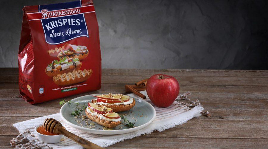 Top slider image for KRISPIES ολικής άλεσης με ταχίνι (ή μέλι), μήλο και τυρί κρέμα