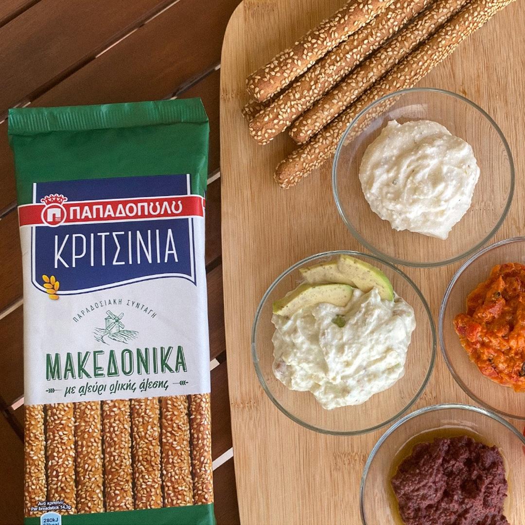 image for Κριτσίνια Παπαδοπούλου με διάφορα ντιπ, ένα νόστιμο σνακ!