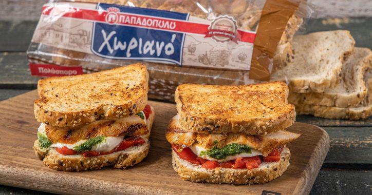 image for Sandwich με ψωμί Χωριανό Παπαδοπούλου, κοτόπουλο, μοτσαρέλα