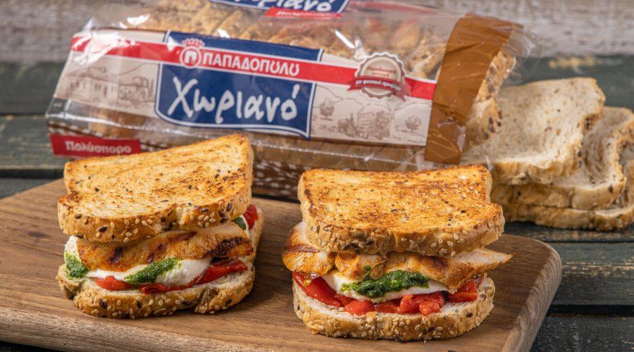 Top slider image for Sandwich με ψωμί Χωριανό Παπαδοπούλου, κοτόπουλο, μοτσαρέλα