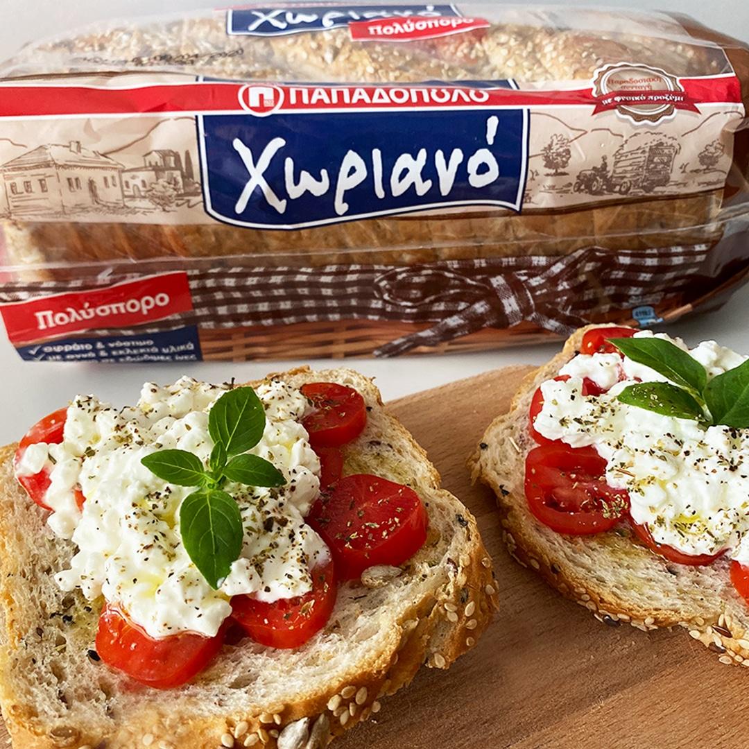 Image for Ανοιχτό σάντουιτς με Χωριανό Πολύσπορο, τοματίνια, τυρί cottage και λίγο ελαιόλαδο!