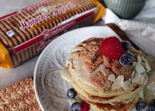 image for Pancakes με τριμμένα μπισκότα ΜΙΡΑΝΤΑ Ολικής Παπαδόπουλου