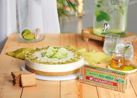 image for Cheesecake με λάιμ, μέλι και Πτι Μπερ χωρίς προσθήκη ζάχαρης