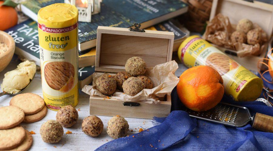 Top slider image for Gluten free energy balls με μπισκότα Παπαδοπούλου χωρίς γλουτένη με πορτοκάλι