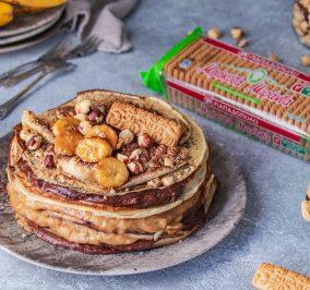 image for Κρέπες με κρέμα μπανάνα, σοκολάτα και Μιράντα με 30% λιγότερη ζάχαρη
