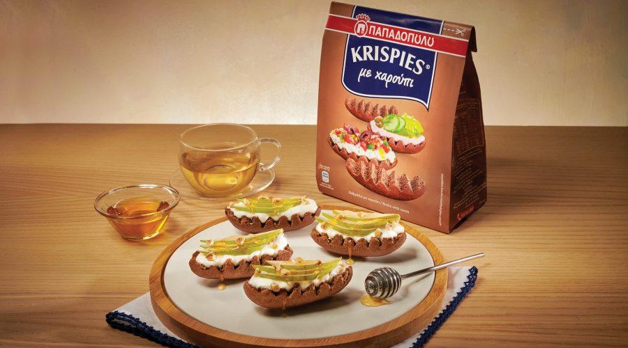 Top slider image for KRISPIES Παπαδοπούλου με χαρούπι, στραγγιστό γιαούρτι, αχλάδι, μέλι και φουντούκια