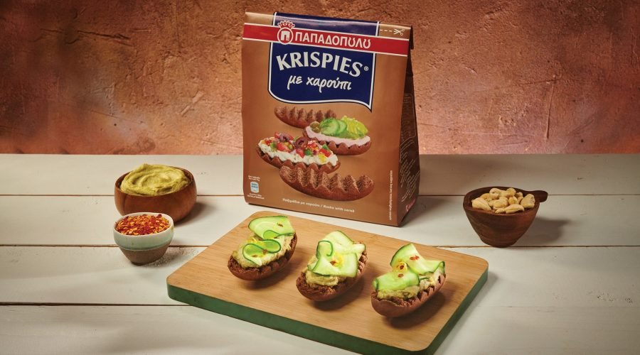 Top slider image for KRISPIES Παπαδοπούλου με χαρούπι, vegan 'τυρί' κρέμα με κάσιους και αβοκάντο, αγγούρι, λεμόνι και μπούκοβο