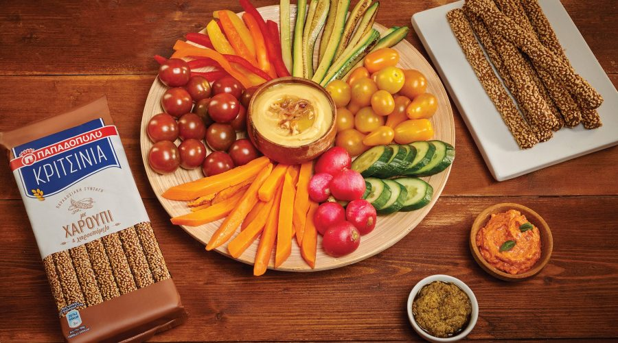 Top slider image for Πιατέλα με λαχανικά, διάφορα dips και ΚΡΙΤΣΙΝΙΑ Παπαδοπούλου χαρούπι
