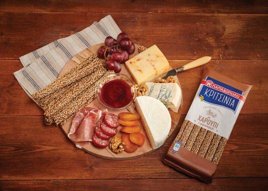 image for Πλατό τυριών και αλλαντικών Ελληνικής προέλευσης, με ΚΡΙΤΣΙΝΙΑ Παπαδοπούλου με χαρούπι