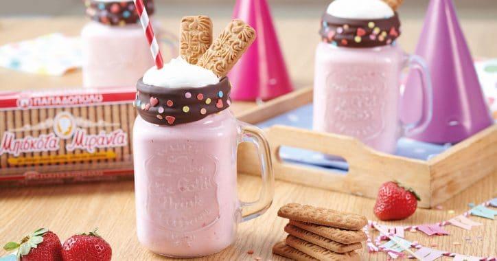 image for Milkshake φράουλα με μπισκότα Μιράντα