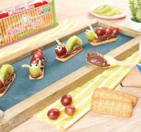 image for Μπουκίτσες με μπισκότα Μιράντα, ταχίνι κακάο και φρούτα