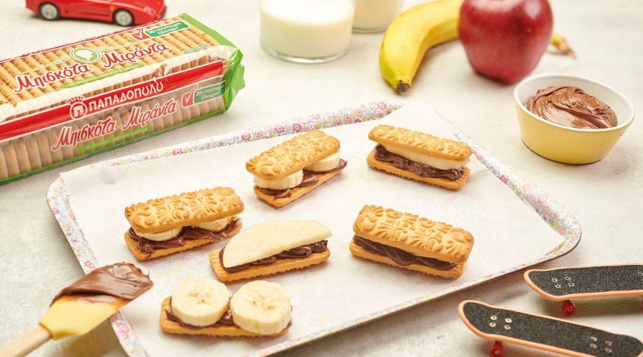Top slider image for Sandwiches με μπισκότα Μιράντα ταχίνι κακάο και φρούτα